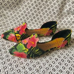 Sole Society floral flat slip-ons